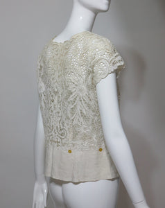 Madeira handmade cut work lace embroidered blouse 1950s