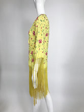 Vintage Adolft Yellow Embroidered Fringe Trim Wrap Coat or Dress 1970s