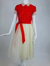 SOLD Bill Blass Red and White Sequined Organza Party Dress 1980s