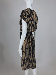 Charivari Cigarette Smoke Silk Dress 1970s