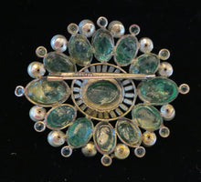 Chanel Rare Early Signed large Gripoix Emerald Brooch 1950s