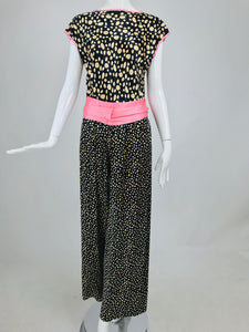 Guy Laroche Silk Evening Pajama set in Cream and Black Dots Pink Trim 1990s