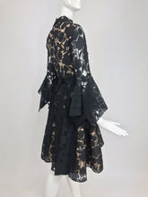 Black and Nude Voided Organza Handkerchief Sleeve Dress, 1960s