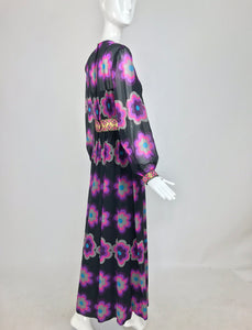 SOLD Richard Kaplan Bold Floral Print Chiffon Jewel Maxi Dress 1960s