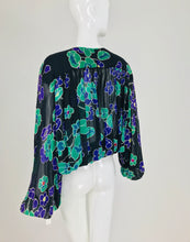 SOLD Valentino Floral Silk Chiffon Plunge Tie Front Blouse 1980s