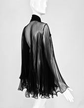 SOLD 1950s Accordion Pleated Sheer Black Negligee Bow Tie Jacket