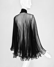 1950s Accordion Pleated Sheer Black Negligee Bow Tie Jacket