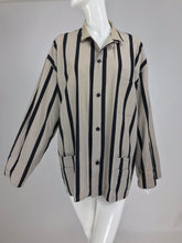 Yohji Yamamoto Mens Black and Taupe  Cotton Stripe Button Front Work Jacket 1990s