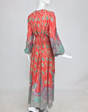 Richard Assatly Bohemian Cotton Mixed Print Maxi Dress 1970s