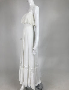 Vintage Roberta California White Gauze and Lace Maxi Dress 1970s