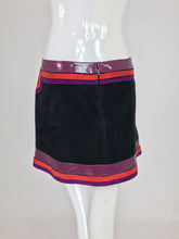 SOLD Gucci Black Suede Skirt Purple and Red Patent Leather Trim S/S 2007