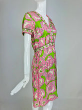 Richard Kaplan Silk Print 1960s Dress in Lime Green and Pink Vintage