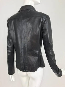 Chanel Black Leather Jacket 2007A  40