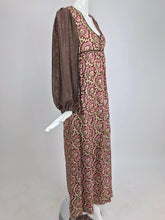 Thea Porter printed mirrored silk maxi dress with gold shot sleeves 1970s