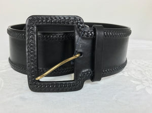 Ralph Lauren wide black harness leather laced edge contour belt NWT