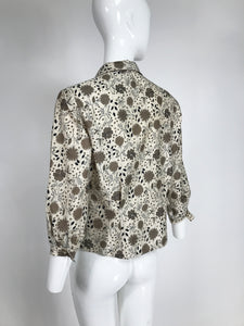 Vintage Modernist Print Rhinestone Cotton Twill Blouse by Jublee NY 1950s