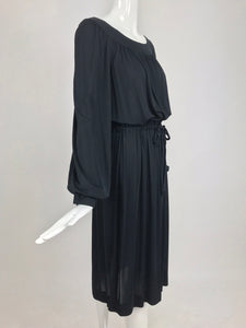Pucci black silk jersey draw string waist dress 1960s