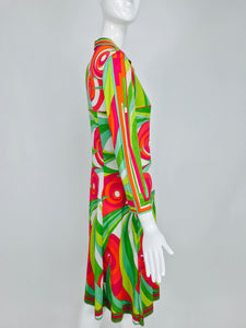 Vintage Pucci cotton knit bold print fitted placket front dress 1960s
