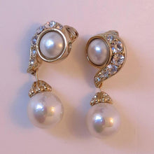 SOLD Christian Dior Rhinestone & Pearl Drop Clip On Earrings