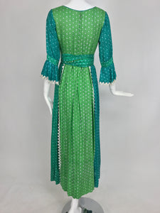 The Mirrors vintage aqua and green silk print maxi dress with white trim 1970s Vintage
