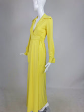 SOLD Victoria Royal Lillie Rubin Yellow Jersey Plunge Wrap Maxi Dress 1970s