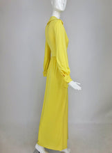 Victoria Royal Lillie Rubin Yellow Jersey Plunge Wrap Maxi Dress 1970s