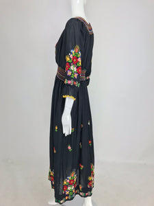 SOLD Vintage Hand Embroidered Czechoslovakian Smocked Peasant Dress