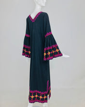 SOLD Embroidered Black Woven Cotton Linen Caftan Huge Bell Sleeves 1960s