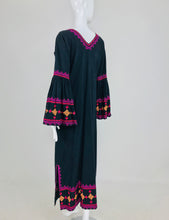 SOLD 1960s Black Cotton Hand Embroidered Bell Sleeve Maxi Dress India