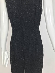 Laurence Kazar black chiffon bugle beaded cocktail dress 1980s