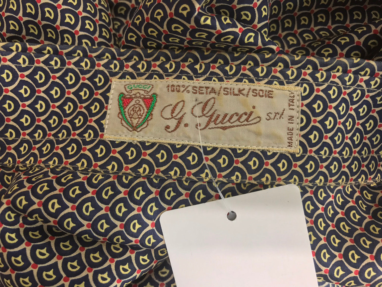 2291d7a2 G Gucci Men's Silk Horse Bit Print Shirt 1970s – Palm Beach Vintage