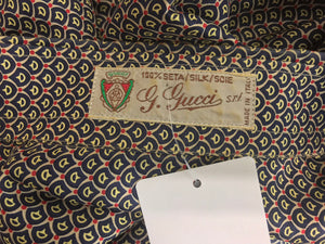 G Gucci Men's Silk Horse Bit Print Shirt 1970s
