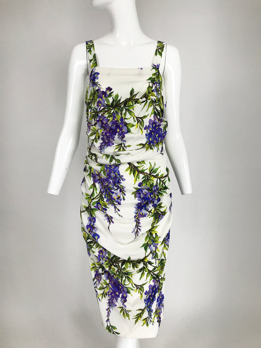 Dolce & Gabbana Wisteria Print Side Ruched Dress in White & Lavender