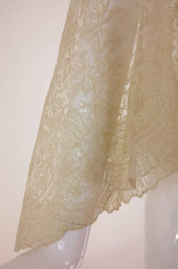 Blond Chantilly lace open front jacket wedding finery handmade 1860s