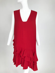Lanvin Cherry Red Silk Blend Crepe Chemise Dress