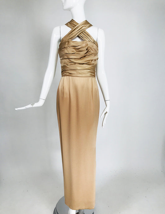 James Galanos Champagne Gold Silk Satin Evening Gown