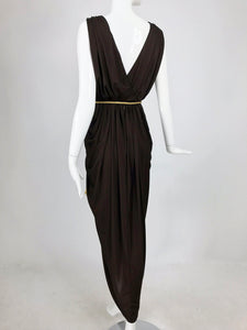 Vintage Marita by Anthony Muta Plunge Neck Jersey Petal Hem Maxi Dress 1970s NWT