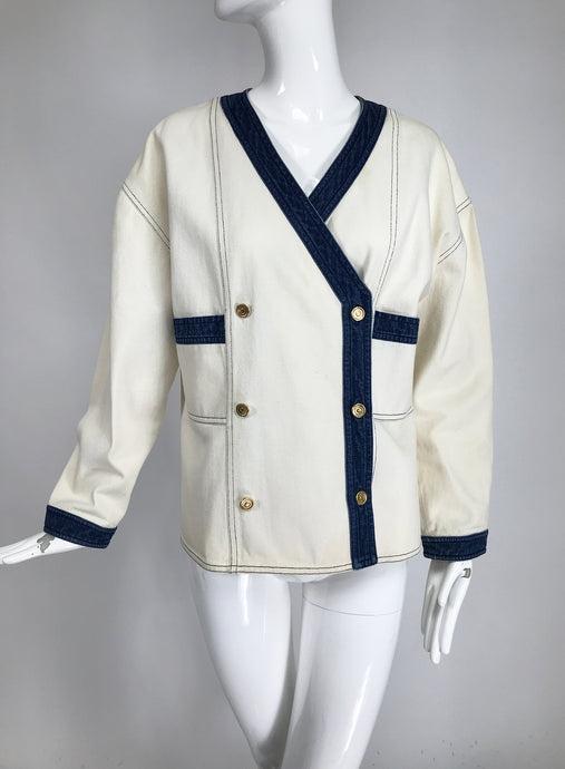 Vintage Chanel Canvas and Denim Double Breasted Jacket 1980s