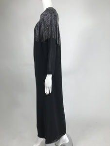 Pierre Cardin Couture Black Slub Silk Rhinestone Car Wash Bib Gown 1960s