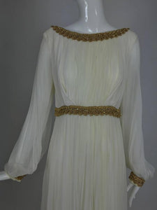 Cream double layer silk chiffon maxi dress with gold braid trim 1970s