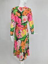 Pierre Balmain Haute Couture Pieced Silk Vibrant Floral Dress and Sash