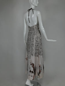 Vintage Fumi's Originals Honolulu Hawaii Asian Print Halter Dress 1970s
