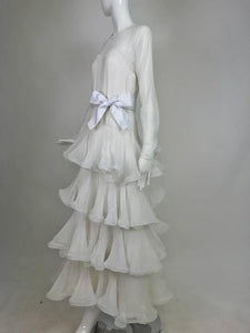 Scaasi Couture white silk chiffon tiered evening dress 1980s