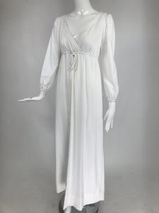 Vintage White Cotton Boho Empire Plunge V Maxi Dress 1970s