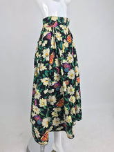 SOLD Emanuel Ungaro Cotton Floral Butterfly Print High Waist Full Skirt 1980s