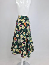Emanuel Ungaro Cotton Floral Butterfly Print High Waist Full Skirt 1980s