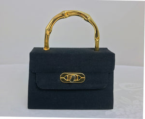 SOLD Vintage Black Silk Gold Hardware Mini Evening Bag 1960s
