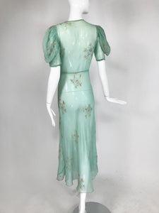 1930s Mint Green Sheer Silk Chiffon Hand Embroidered Bias Cut Maxi Dress Vintage