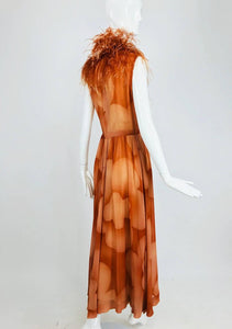 Christian Dior Boutique Numbered Silk Chiffon Feather Trimmed Maxi Dress 1960s