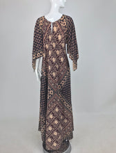 SOLD India Block Printed Cotton Bias Cut Maxi Dress Caftan 1960s
